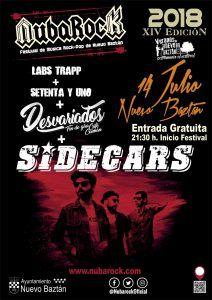Cartel Oficial Festival NubaRocK, 14 de Julio en concierto SIDECARS + Desvariados + Labs Trapp y Setenta y Uno